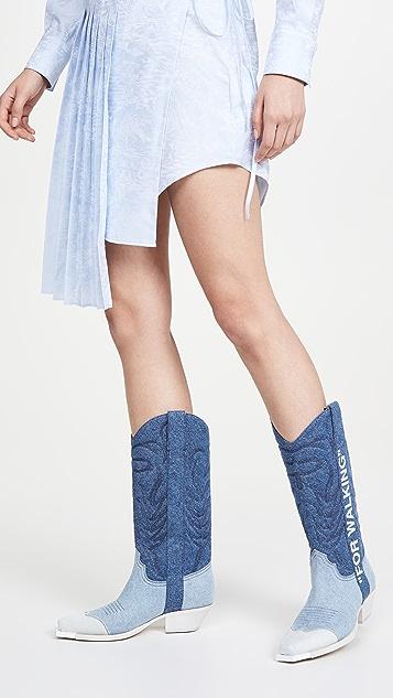 Off-White Denim Cowboy Boots