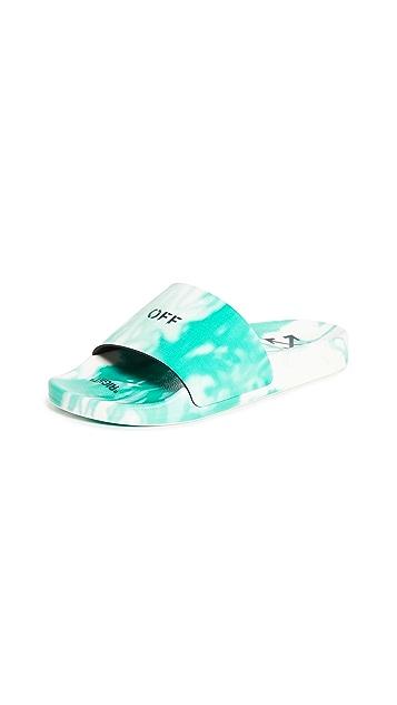 Off-White Tie-Dye Pool Sliders