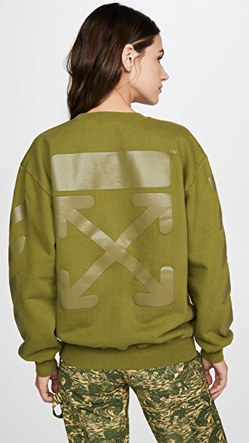 Off-White Diagonal Oversize Crew Neck Sweatshirt