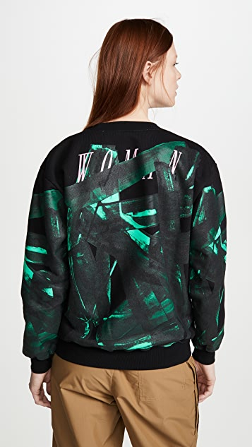 Off-White Green Brush Oversize Crew Neck Sweatshirt
