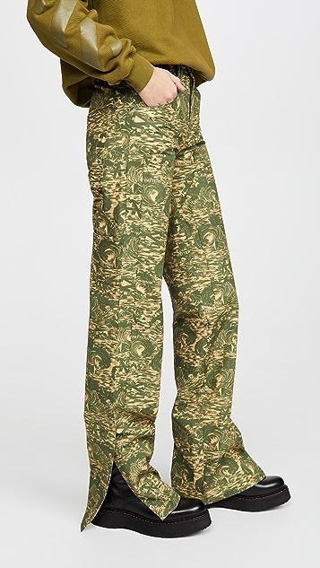 灰白色 厚织尼龙布料迷彩五口袋工装裤