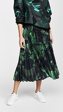 Green Brushstroke Plisse Skirt