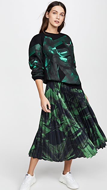 Off-White Green Brushstroke Plisse Skirt