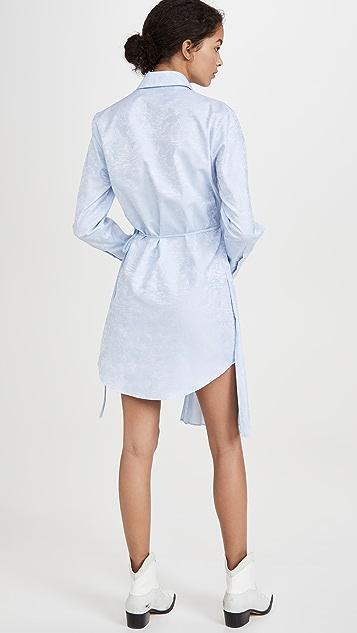 Off-White Waves 裹身拼接衬衣连衣裙