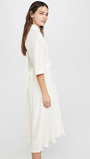 Off-White Crepe Romantic Dress