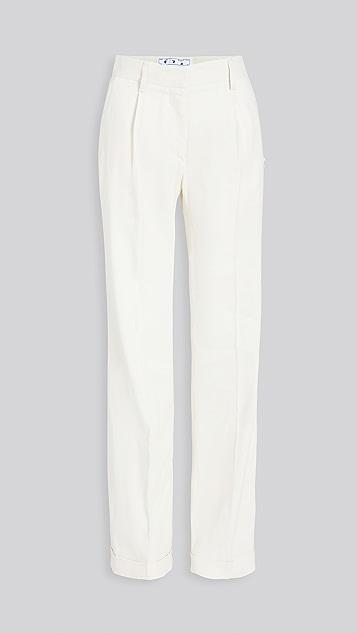 灰白色 亚麻正装长裤