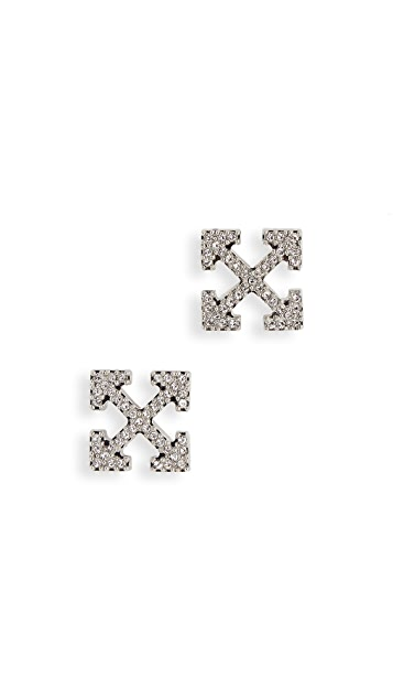 Off-White Strass Mini Arrow Earrings