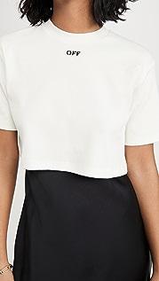 Off-White 罗纹短款休闲 T 恤