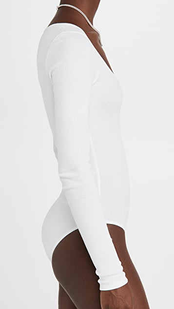 Off-White Rib Long Sleeve Bodysuit