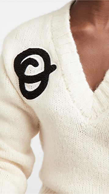 Off-White Logo Intarsia V Neck Sweater