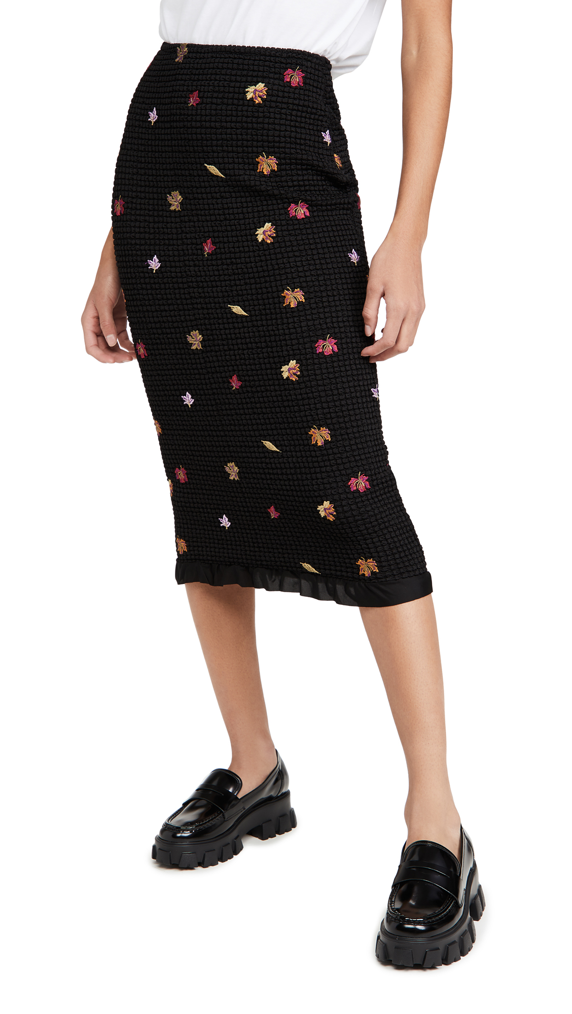 Off-White Embroidered Leaves Skirt