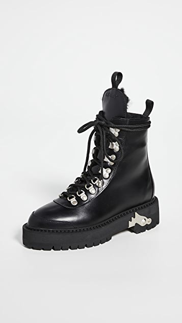 Off-White Leather Hiking Boots