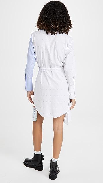 Off-White 米白色徽标打褶泡泡纱衬衣式连衣裙