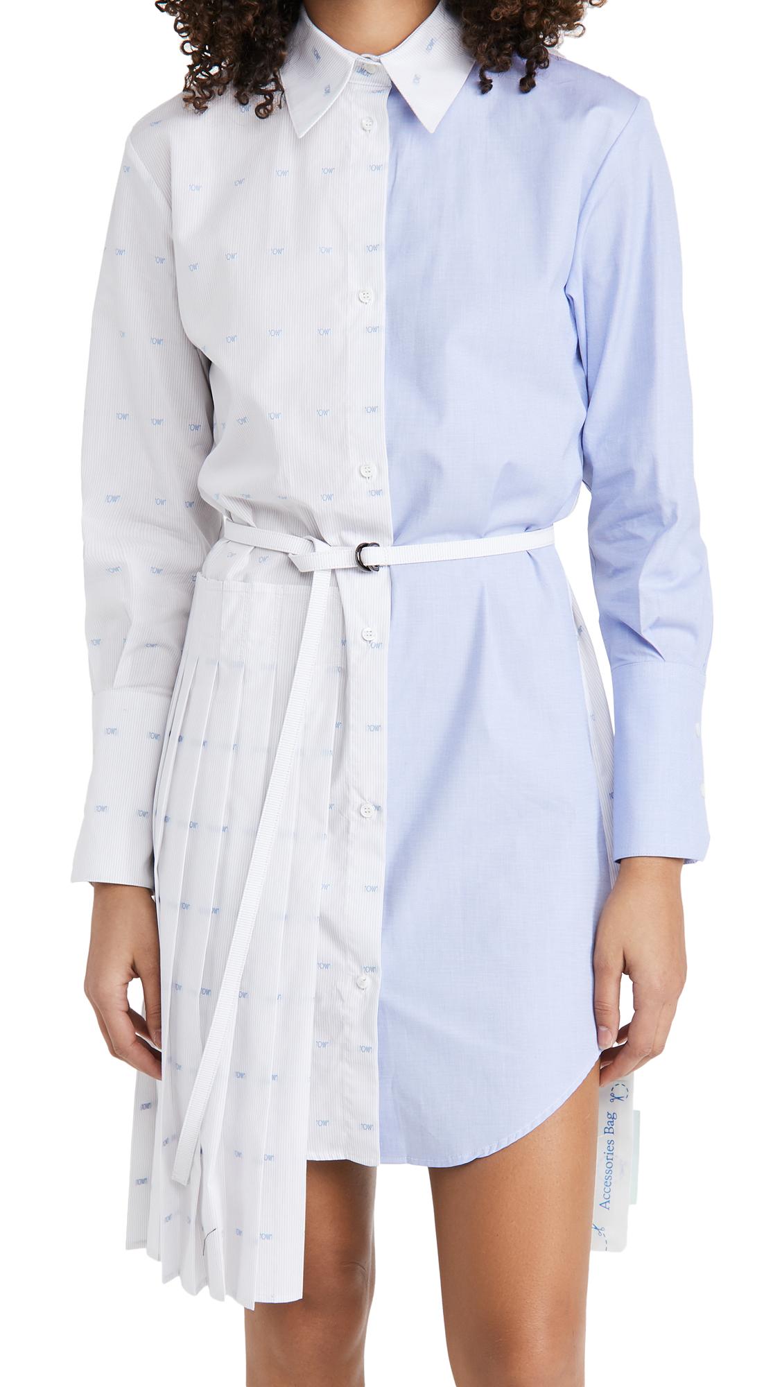Off-White Off White Logo Plisse Shirt Dress