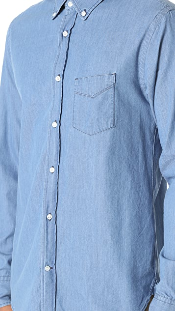 Officine Generale Denim Button Down Shirt