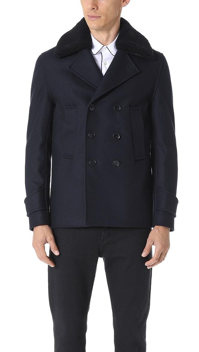 stor rabatt tidlös design köpa billigt Officine Generale New Melton Wool Peacoat | EAST DANE