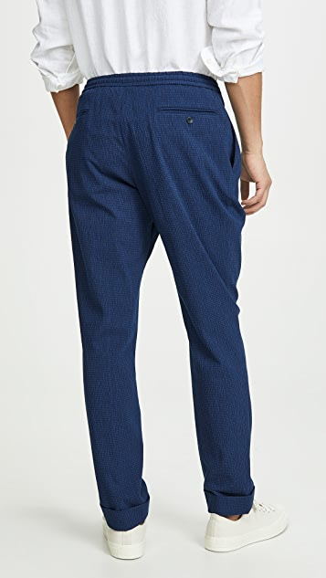 Officine Generale Indigo Seersucker Drew Pants