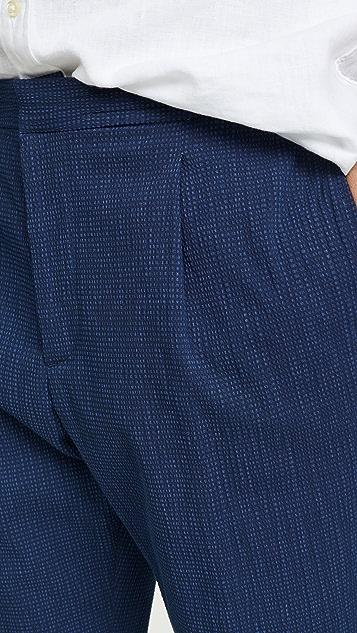Officine Generale Indigo Seersucker Drew Pants
