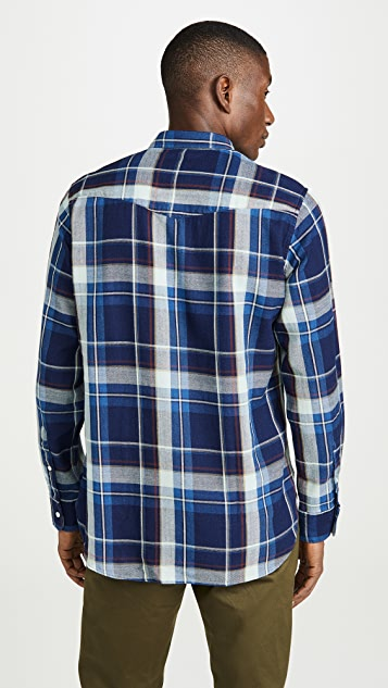 Officine Generale Indigo Check Button Down Shirt
