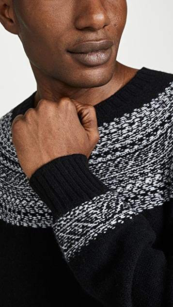 Officine Generale Seamless Reverse Fair Isle Crew Neck Sweater