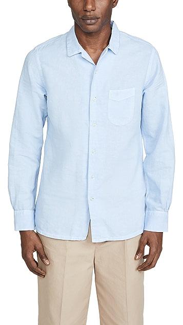 Officine Generale Pigment Dyed Cotton Linen Shirt