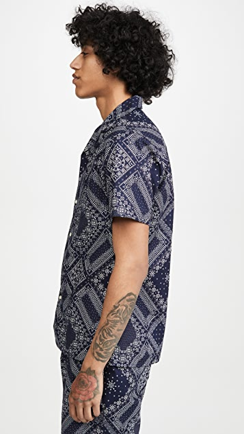 Officine Generale Japanese Cotton Bandana Print Short Sleeve Shirt