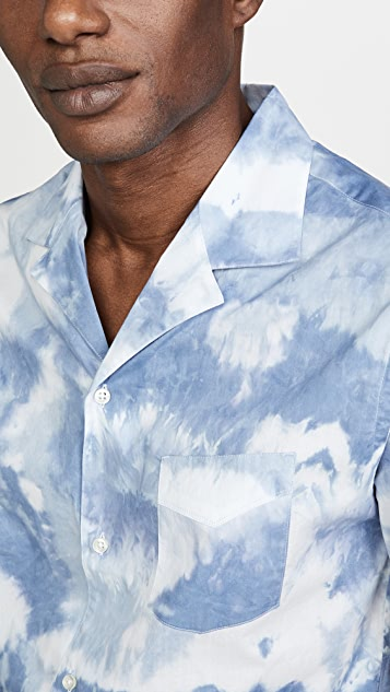 Officine Generale Japanese Tie Dye Short Sleeve Shirt