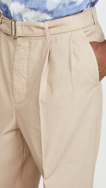 Officine Generale Italian Cotton Pleated Chino Pants