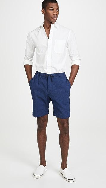 Officine Generale Indigo Seersucker Shorts