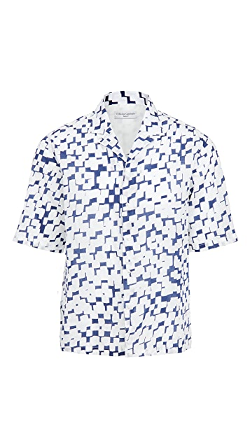 Officine Generale Eren Jap Cotton Geo Print Shirt