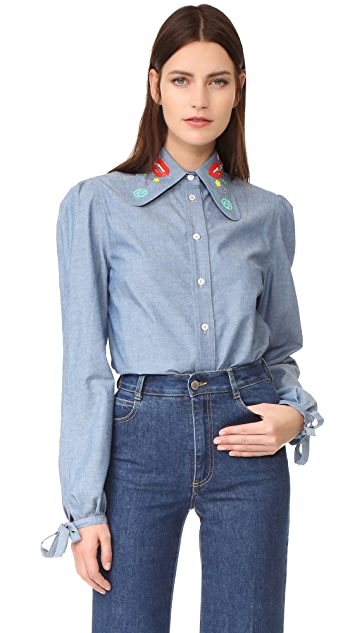 Olympia Le-Tan Sliver Haze Button Down Blouse