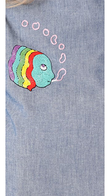 Olympia Le-Tan Grape Ape Embroidered Blouse