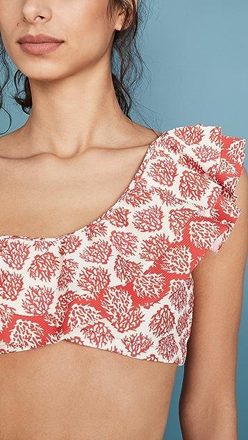 OndadeMar Ruffle One Shoulder Bikini Top