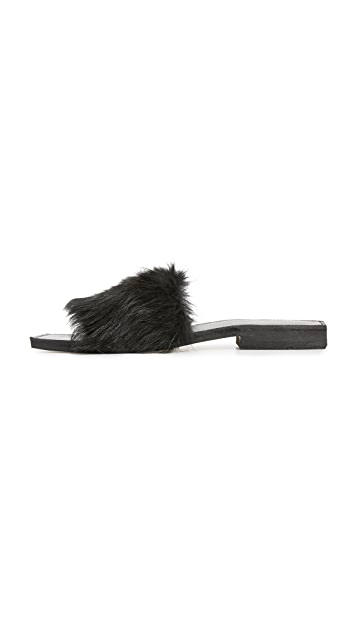 ONE by Parme Marin Faux Fur Slides