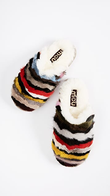 ONE by Mou Mink Stripey Slippers