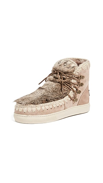 ONE by Mou Fur Lace Up Short Boots