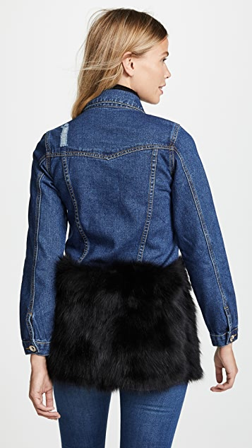 ONE by J4K Dark Denim Trucker Jacket with Fox Fur