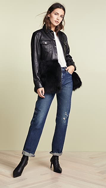 ONE by J4K Leather Jean Jacket with Black Fox Fur