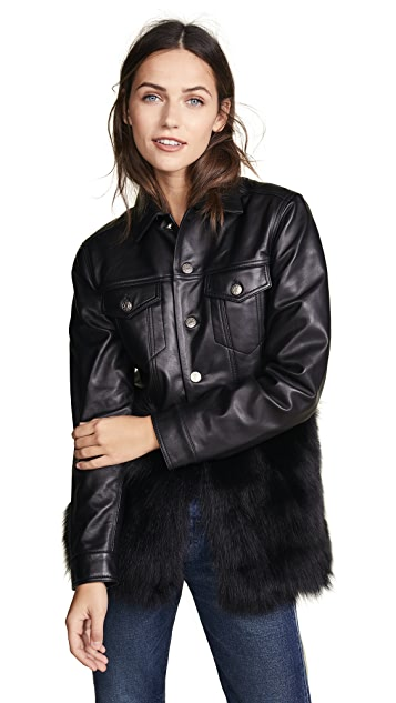 ONE by J4K Leather Jean Jacket with Black Fox Fur | SHOPBOP