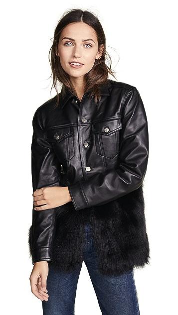 ONE by J4K Leather Jean Jacket with Black Fox Fur   SHOPBOP