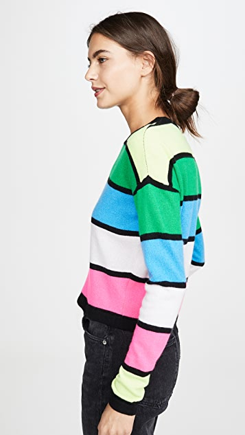 ONE by Threads of PRVLG Striped Cashmere Crew Sweater