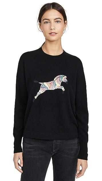 ONE by 27 Miles Elektra Zebra Cashmere Sweater