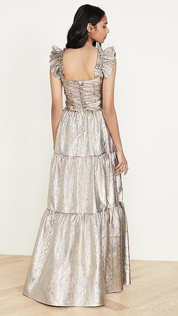ONE by Gilner Farrar Ruffled Shoulder Maxi Dress