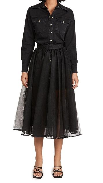 ONE by PINKO Lolly Abito 牛仔布上衣和薄纱半身裙