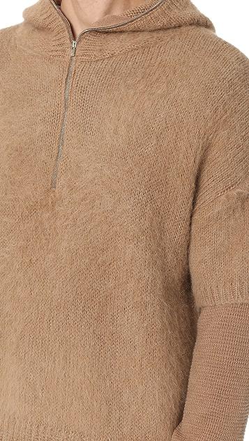 Ones Stroke Alpaca Layered Sleeve Hoodie