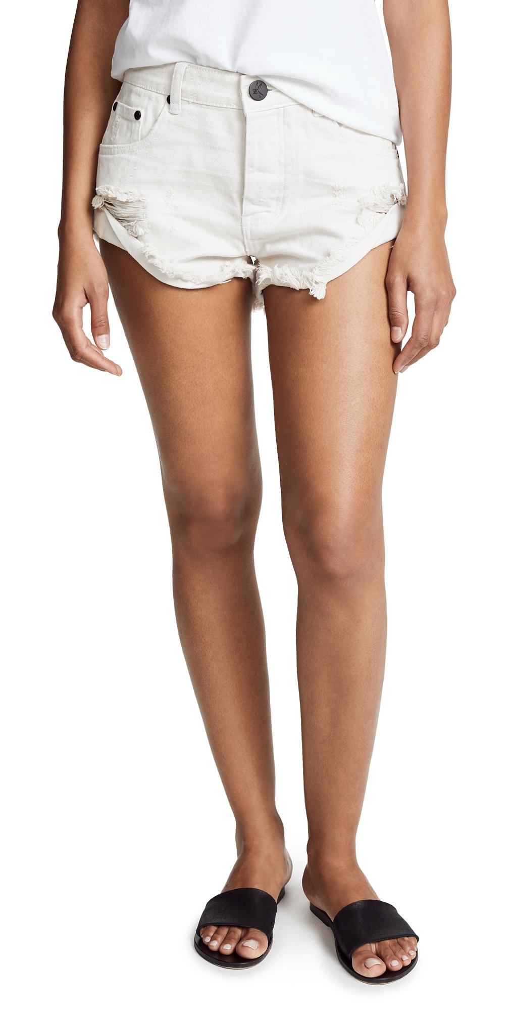 One Teaspoon Worn White Bandit Shorts