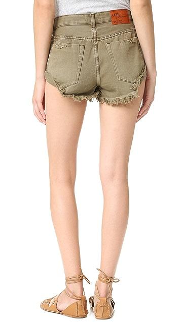 One Teaspoon Khaki Bandits Shorts
