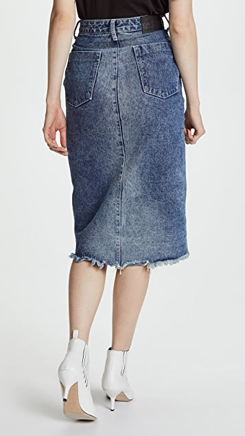 One Teaspoon Blue Society Wrap Denim Skirt