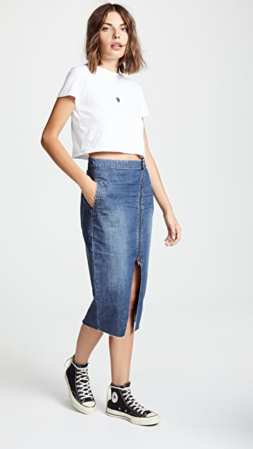 One Teaspoon Reformer Zip Denim Skirt
