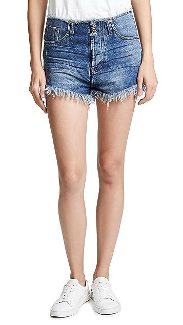 One Teaspoon Oxford Outlaws Mid Length Denim Shorts